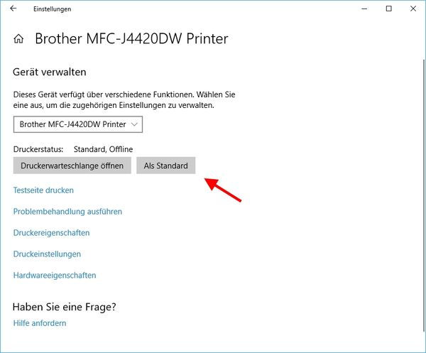Standarddrucker festlegen bei Windows