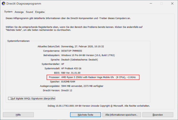 CPU herausfinden im DirectX Diagnoseprogramm
