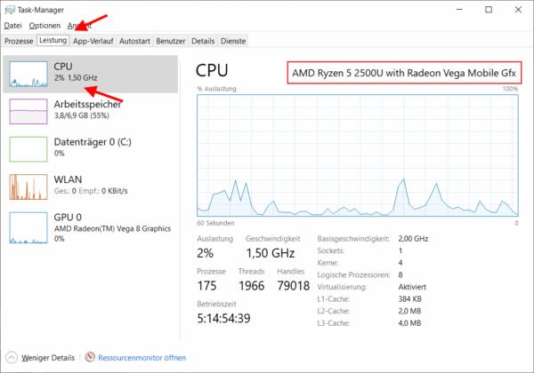Herausfinden, welche CPU sich im PC befindet im Task-Manager