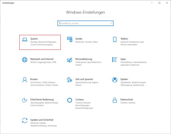Windows Einstellungen öffnen um die CPU herauszufinden