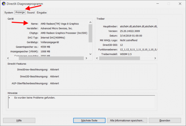DirectX-Diagnosetool mit Anzeige des Namens der Grafikkarte des Computers