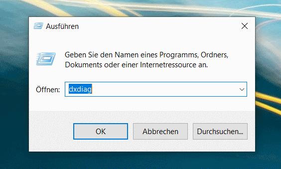 Starten von dxdiag aus dem Ausführen-Dialog von Windows 10