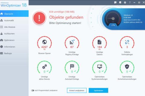 Ashampoo WinOptimizer 18 findet verschiedene Probleme bei Windows