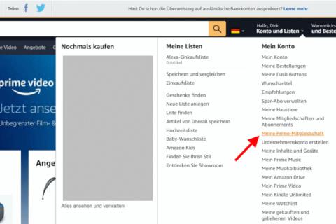 Mitgliedschaftsverwaltung von Amazon Prime aufrufen