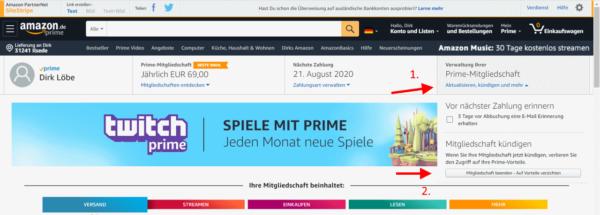 Amazon Prime kündigen und verwalten
