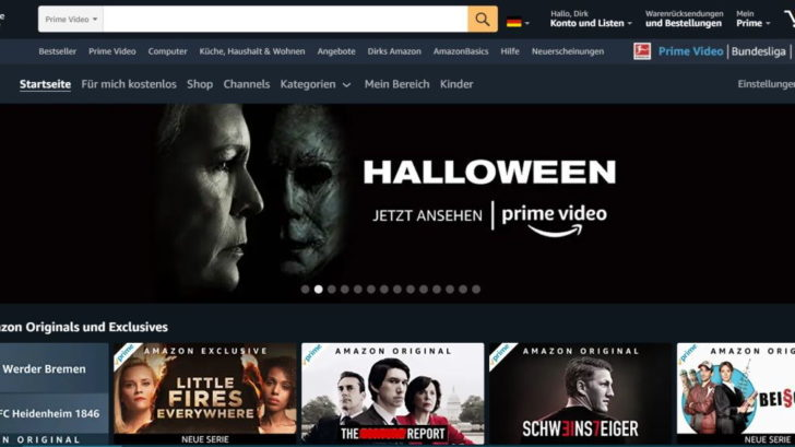 Amazon Prime Video Screenshot Webseite