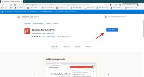 Erweiterung aus dem Chrom Web Store installieren
