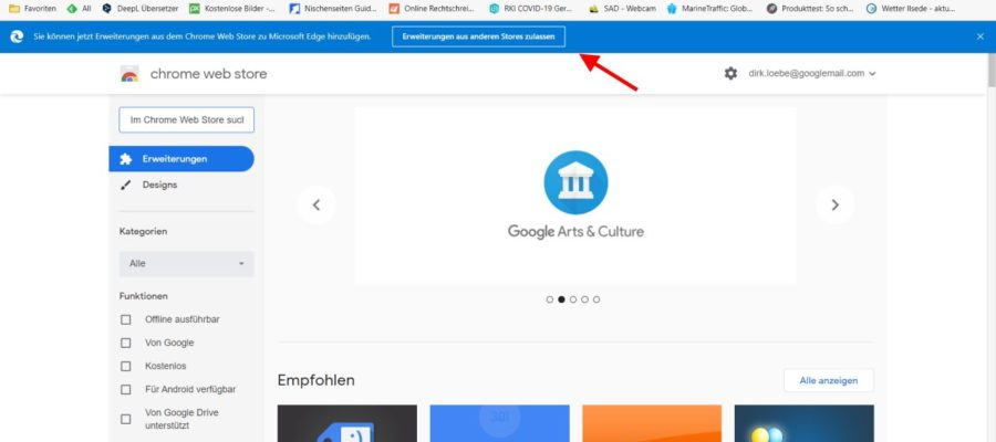 Erweiterungen zulassen direkt im Chrome Web Store