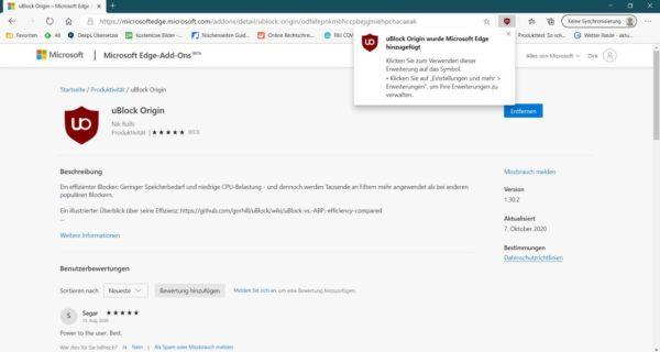 Add-On im Microsoft Edge installiert