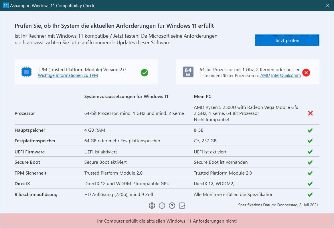 Ashampoo Windows 11 Compatibility Check