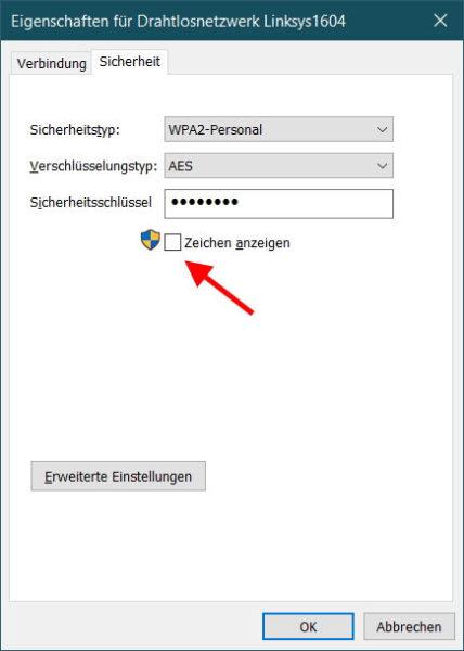 WLAN Passwort auslesen und anzeigen lassen